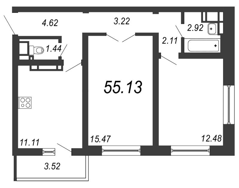 Продам 2-комн. квартиру по адресу Россия, Ленинградская область, Санкт-Петербург, Муринская дор. фото 0 по выгодной цене
